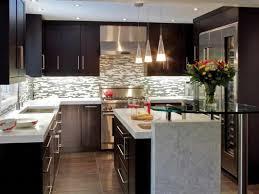 Kitchen. . L Shape Kitchen Decorating Using White Grey Glass Tile Kitchen  Backsplash Including White
