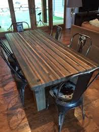 butcher block dining table. Butcher Block Style Table Constructed From Various Species Of Cedar And Fir. Steel Wool Dining T