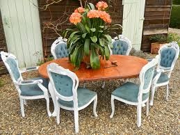 shabby chic dining table diy white floor tile white clear glass windows round glass dining table