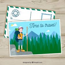 Hand Drawn Travel Postcard Template Vector | Free Download