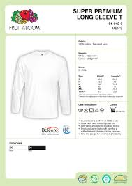 Fruit Of The Loom Sweatshirt Size Chart Fruit Of The Loom T Shirt Size Chart Uk Rldm