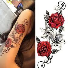 Red Roses Flower Dočasné Tetování Samolepky Body Art 3d Rose Tatoo Vodotěsné At Vova