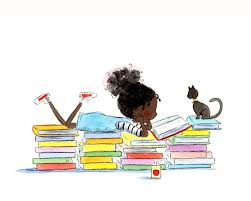 black reading with cat reading stories by periwinkleandhazel