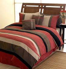 black brick red and chocolate and camel jacaranda striped microsuede 6 pc luxury duvet cover bedding