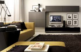 Modular Living Room Cabinets Yellow Sofa Dark Pillows Dark Rug Grey Cabinet And Black