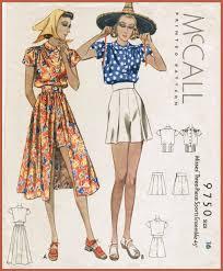 Vintage Sewing Patterns Interesting 48s Beachwear Skirt Blouse Shorts Vintage Sewing Pattern 48