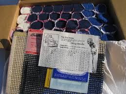 vintage midnight flight mary maxim latch hook rug kit pre cut yarn canvas