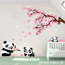 pandas wall art stickers on panda wall art uk with nursery wall art stickers baby room wall decor wall art studios uk