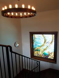 antiqued brass rail and steel barade by sculptureworks design photo with awesome indoor stair lighting fixtures