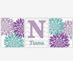 baby girls nursery wall art purple lavender teal aqua flower burst dahlia mums floral personalize canvas prints baby nursery decor on canvas wall art purple flowers with baby girls nursery wall art purple lavender teal aqua flower burst