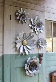 5 galvanized metal flower wall art