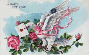 vintage happy new year banner clip art. Happy New Year Clip Art Dove With Roses And Vintage Banner The Graphics Fairy