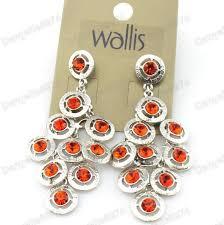 wallis crystal chandelier earrings red orange silver plated rhinestone