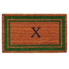 Home More Green Border 18 In X 30 In Monogram X Door Mat