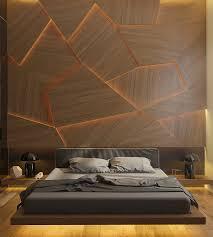 a geometric back lit wood accent wall