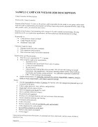 Camp Counselor Description Resume Itacams C387bb0e4501