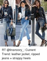 funny jeans and heels mann ah nm rt linanoory cur rt linanoory cur trend leather jacket ripped jeans strappy heels