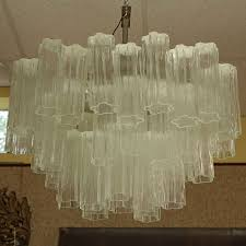 mid century italian camer glass chandelier with venini tronchi hanging crystals