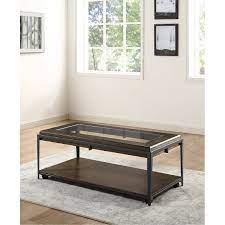 industrial coffee table with glass top