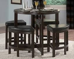 let this pub set be the centerpiece of your dining area featuring sharp lines and tight wedge seating this pact five piece counter height dining set is