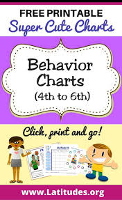 4th Grade Behavior Chart Free Printable Behavior Charts For Teachers Students 4th
