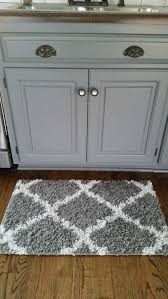kitchen small white and gray rug diamond pattern details