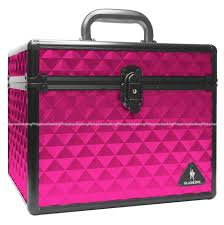gladking makeup cosmetic hard case organizer bag hot pink big small