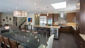large recessed lighting. Building A Basement Kitchen With Elegant Family Room Decor And Using Square Recessed Light Plus Large Drum Pendant Lighting Above Glass Dining Table Top I