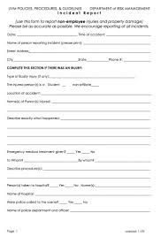 Employee Incident Report Example Free Template Doc Form Pdf Sample