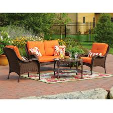 delahey 4 piece patio conversation set dark brown seats 4 elegant conversation sets for patio replacement cushions for patio sets sold at