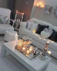 bling silver white pink living room
