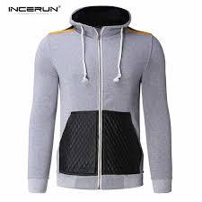 incerun men s pu leather zip hoody hoos sweatshirt sweater hooded coat jacket light grey