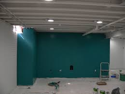 Painted Ceiling Basement Accent Wall Interesting Still Used The - Painted basement ceiling ideas