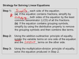 strategy for solving linear equations step 1 each side of the equation