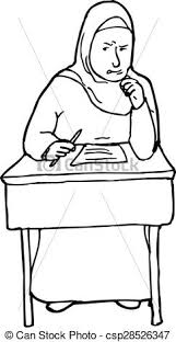 student desk clipart black and white. outline of struggling student at desk - csp28526347 clipart black and white