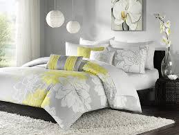 com madison park lola 6 piece cotton duvet cover set yellow full queen fl print includes 1 duvet cover 3 decorative pillows