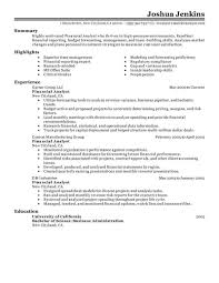 Analyst Resume Resumes Data Summary Sample Financial Example