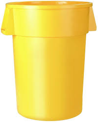 6 pack 20 gallon yellow round trash can waste basket garbage bin indoor outdoor new