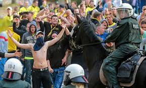 Borussia Dortmund and Schalke fans fight