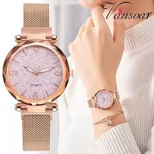 Rose Gold <b>Women</b> Watch <b>2019 Luxury Brand</b> Magnetic Starry Sky ...