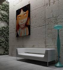 Modern Interior Design Canvas Wall Art Ideas On Grey Concrete Wall ...