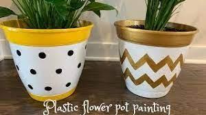 plastic flower pot painting
