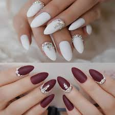 Nail Designs With Jewels 3d Frosted Burgundy Matte Stiletto False Nails White 24pcs