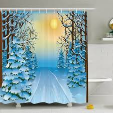 best tree shower curtain new ambesonne winter forest view with snowy path between trees and sun