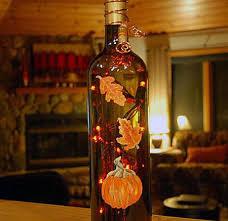 lighted wine bottle for fall