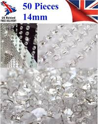 50 chandelier light crystals droplets glass bead wedding drops 14mm prism parts 5010317760905