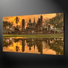 sunset over buddha temple ethnic wall art canvas print picture ready to hang