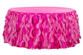 curly willow 14ft table skirt fuchsia