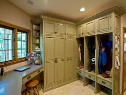 Neutral Mudroom With Cubbies And Desk