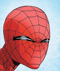 this should be a meme squinting spider man